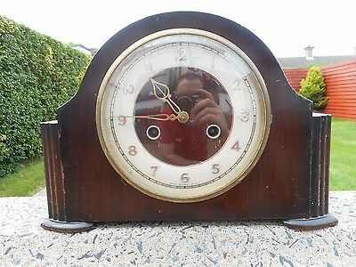 Vintage Art Deco Style Smiths Enfield Chiming Mantle Clock 1940's Fully Working