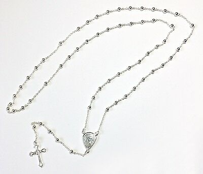 Sterling Silver Rosary Beads - .925 Hallmark with Madonna & Child Medal Junction