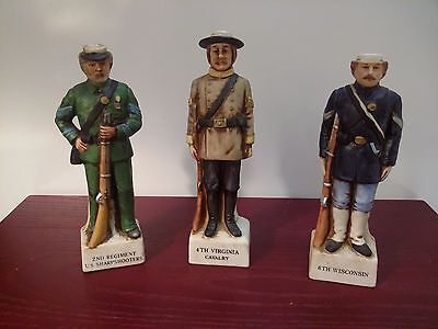 Lot of 3 GRENADIER CREAM SHERRY EMPTY 1975 MILITARY FIGURINES Vtg Collectible