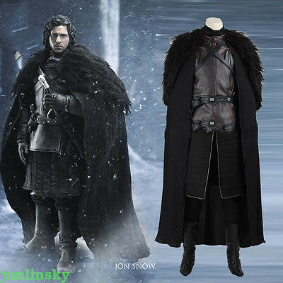 Halloween Game of Thrones Costume Jon Snow Costume Outfit Coat Cosplay Full SET