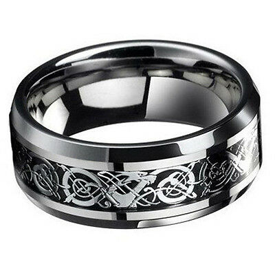 Men's Titanium Steel Celtic Dragon Carving Wedding Band Ring Jewelry up-to-date