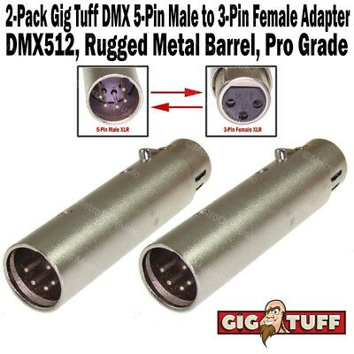 2-Pack Gig Tuff DMX 5-Pin Male XLR to 3-Pin Female Adapter Cable Metal 5M3F NEW