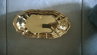 International Silver Company Handcrafted 24K Gold Plated Dish