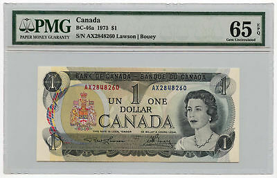 1973 Canada $1 Note BC-46a PMG Gem Uncirculated 65 EPQ