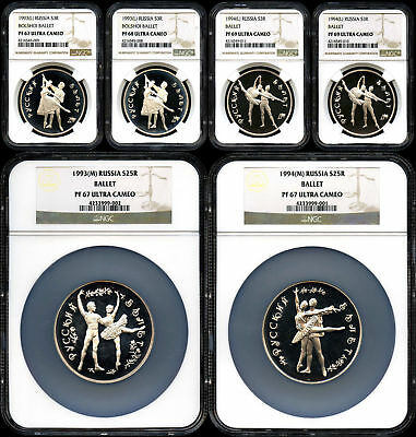 6 pc. Proof Set 1993-1994 Russia Ballet Proof Silver 3 & 25 Roubles NGC -155198