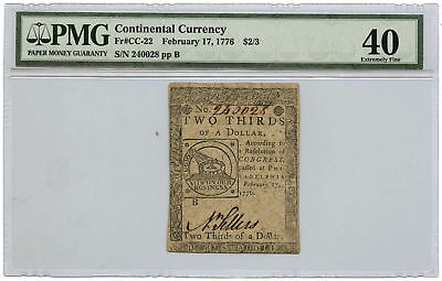February 17, 1776 $2/3 Continental Currency PMG XF-40 Fr #CC-22 Split