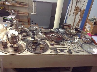Vintage Antique Huge Mixed Lot Of Silverplate Flatware Teapot Trays Plates