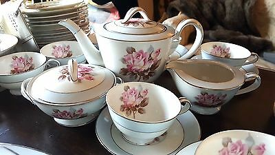 Noritake China Set Pink Rose Center Soft Blue Border Place Setting for 8