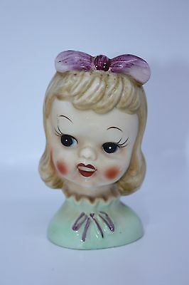 "True Vintage Girl Wall Pocket Mid Century small 4.5"" Hair Bow girls room blonde"