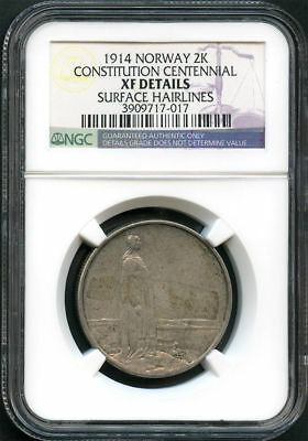 1914 Norway Silver 2 Kroner Constitution Centennial NGC XF Details -134109