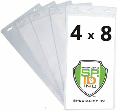 5 Extra Large 4 X 8 Clear Plastic Ticket Holder Sleeves- 3 Lanyard Holes 4x8 Tix