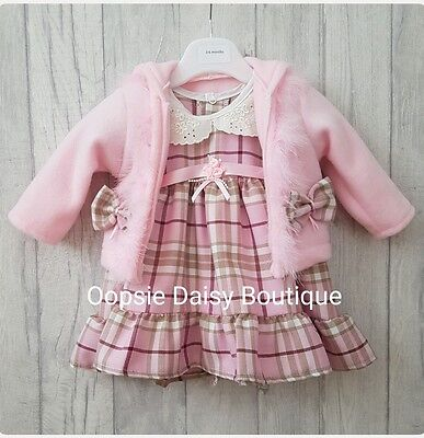 Stunning Pink Tartan Ribbons & Roses Dress Matching Fleece Jacket/Cardigan ☆