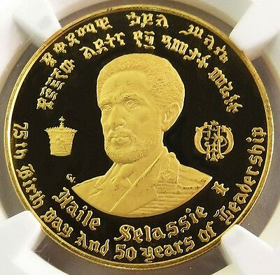 1966 Ni Gold Ethiopia $50 Dollr Haile Selassie 1 Coin Ngc Proof 64 Ultra Cameo