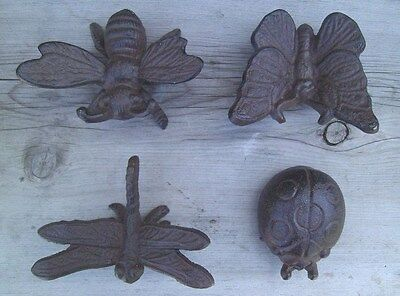 4 Cast Iron Garden Bugs Dragonfly Lady Bug Butterfly Bee Garden Decor