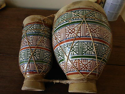 Ceramic Moroccan double drum musical instrument goatskin