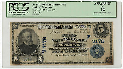 1902 $5 Banknote Plain Back First NB of Napa, CA PCGS Apparent F-12 Ch #7176