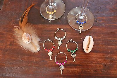 Awesome Handmade Wine Glass Rings with Coloured Beads and Silver Charms Set of 6
