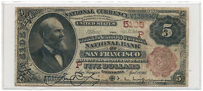 1882 $5 Banknote Brown Back The Wells Fargo Nevada NB of San Francisco, CA #5105