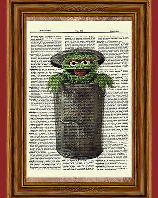 Oscar The Grouch Sesame Street Dictionary Art Print Picture Poster Nursery