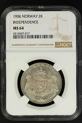 1906 Norway Silver 2 Kroner Independence NGC MS-64 -147139