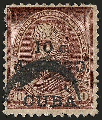 10c on 10c Brown Type I stamp, Spanish American War overprint shift to bottom