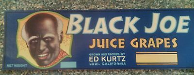 Black Joe CRATE LABEL VINTAGE GRAPE BLACK AMERICANA 1940S ORIGINAL ADVERTISING