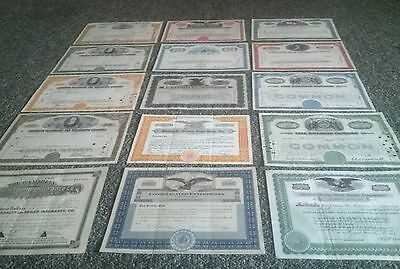 COLLECTION of 14 Different Stock Certificates BONDS 1904-1973 Free shipping!