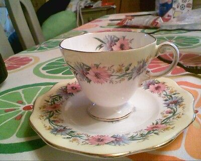 Foley Bone China Made in England CORNFLOWER Tea Cup and Saucer