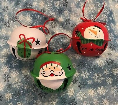 "3- 2.5"" Hand Painted Jingle Bells - Red Green & White- Santa - Snowman - stars"