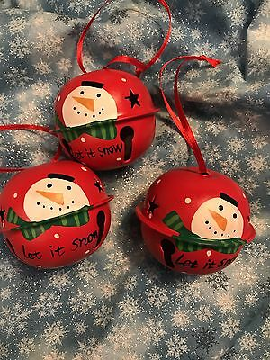 "3- 2.5"" Hand Painted Jingle Bells - Red With Snowman - Let it Snow- Cutout stars"