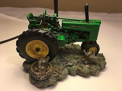John Deere Tractor Table Lamp  Resin With Farm Scene Lamp Shade - 1999