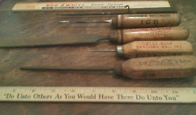 1900-1930's ADVERTISING WOOD HANDLE ICE PICKS COCA COLA Greencastle Indiana RARE