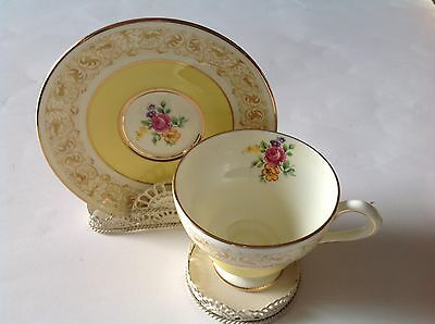 Royal Chelsea - Yellow & Floral Tea Cup with Saucer – Made in England