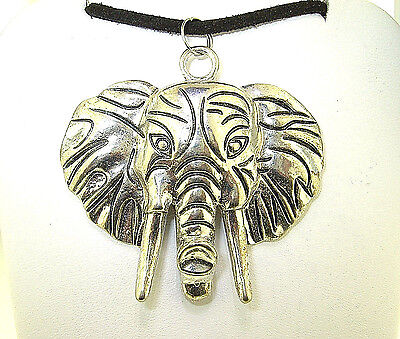 "New  Beautiful  3-D  ELEPHANT  head Silver-tone Pendant 18"" - 20"" Black Necklace"