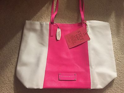 Victoria's Secret Hot Pink & White Canvas Tote Bag NWT