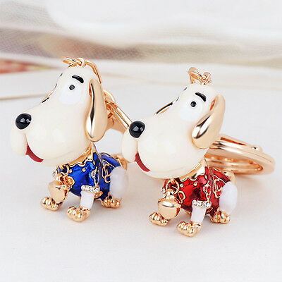 Cute Dog Pattern Alloy Rhinestone Women Key Chain Handbag Bag Pendant Ornaments