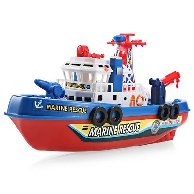 Fast Music Light Electric Marine Rescue Fire Fighting Boat Toy 3km/h Non-remote