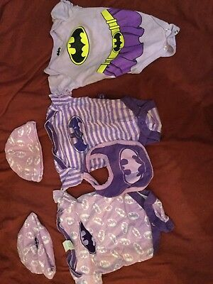 Baby Girl clothes batman Batgirl  Set with bib/hat 6 Pieces comic con 3/6 months