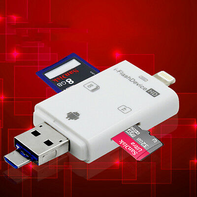 UK 1X 3in1 i-Flash Drive USB Micro SD/TF OTG Card Reader Adapter for iOS Android