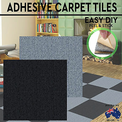 96 192 384 Squares Modular Self-Adhesive Carpet Tiles Peel Stick Rugs 30x30cm