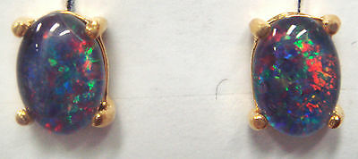 Natural Black Triplet Opal Earring With 925 Solid Silver Set Yellow Gold Plated