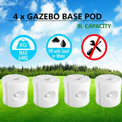 Gazebo Base Pod Kit Marquee Canopy Leg Fillable Water Sand Weight Pods