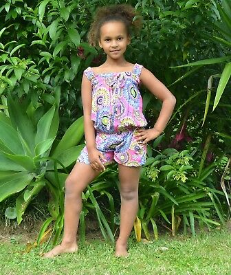 Girls colourful pink Peacock print playsuit shorts set.