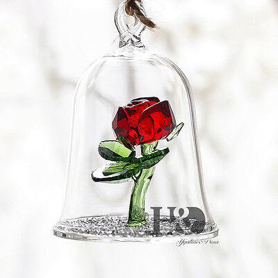 Crystal Beauty and the Beast Enchanted Red Rose Glass Sculpture in Glass