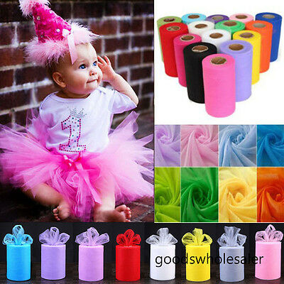 """6"""" 25  yards Tutu Tulle Roll Spool Wedding Party Decoration Gift Wrap Craft Bow"""