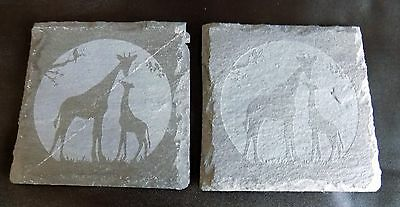 """New hand etched """"GIRAFFE COASTER"""" - Can buy 1, 2 or 4 - Original Gift Idea!"""