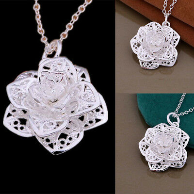 Silver Plated Pendant Necklace Fashion Flower Chain New Women Gift Jewelry