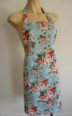 Handmade French Country Pink Roses on Baby Blue 100% Cotton Women's Apron