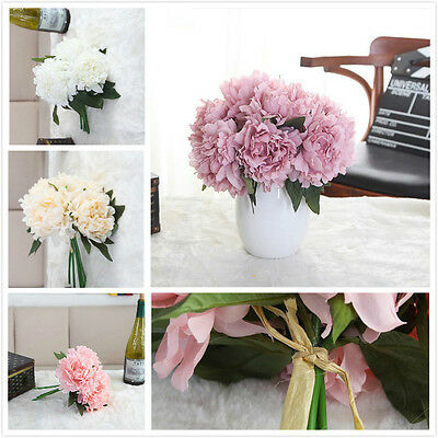 5 Heads Artificial Peony Silk Flower Wedding Hand Bouquets Home Decoration Proce