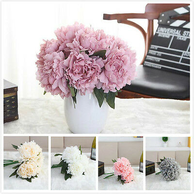 Home Decoration 5 Heads Artificial Peony Silk Flower Wedding Hand Bouquets